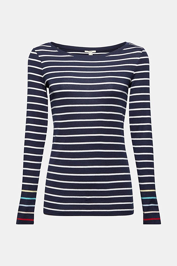 T-shirt à manches longues à rayures, 100% coton