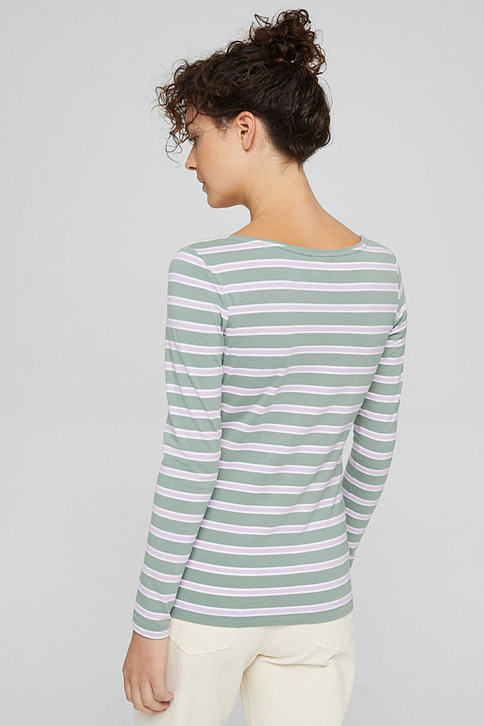Camiseta de manga larga con diseño a rayas, algodón ecológico, DUSTY GREEN, detail image number 3