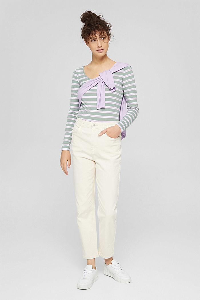Camiseta de manga larga con diseño a rayas, algodón ecológico, DUSTY GREEN, detail image number 1