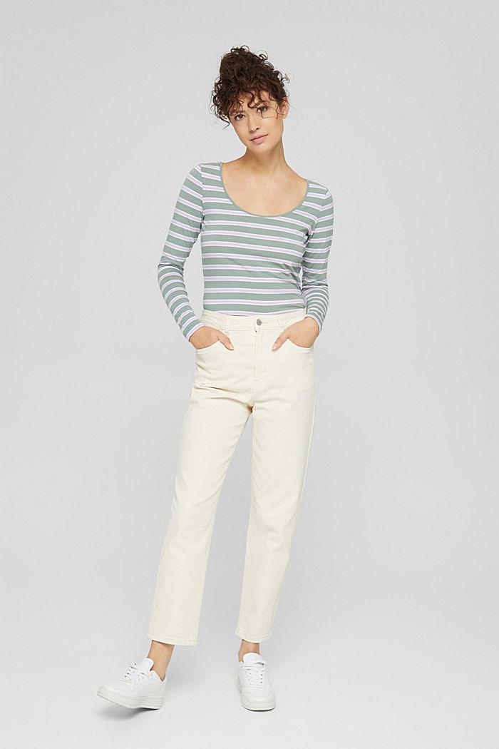 Camiseta de manga larga con diseño a rayas, algodón ecológico, DUSTY GREEN, detail image number 7