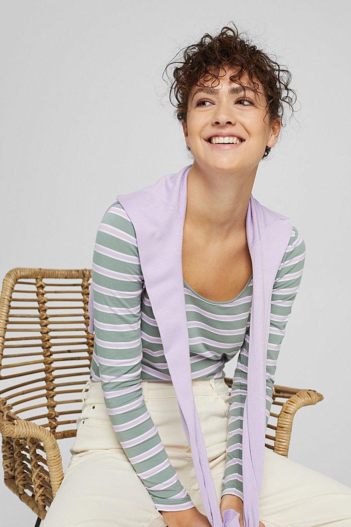 Camiseta de manga larga con diseño a rayas, algodón ecológico, DUSTY GREEN, detail image number 6