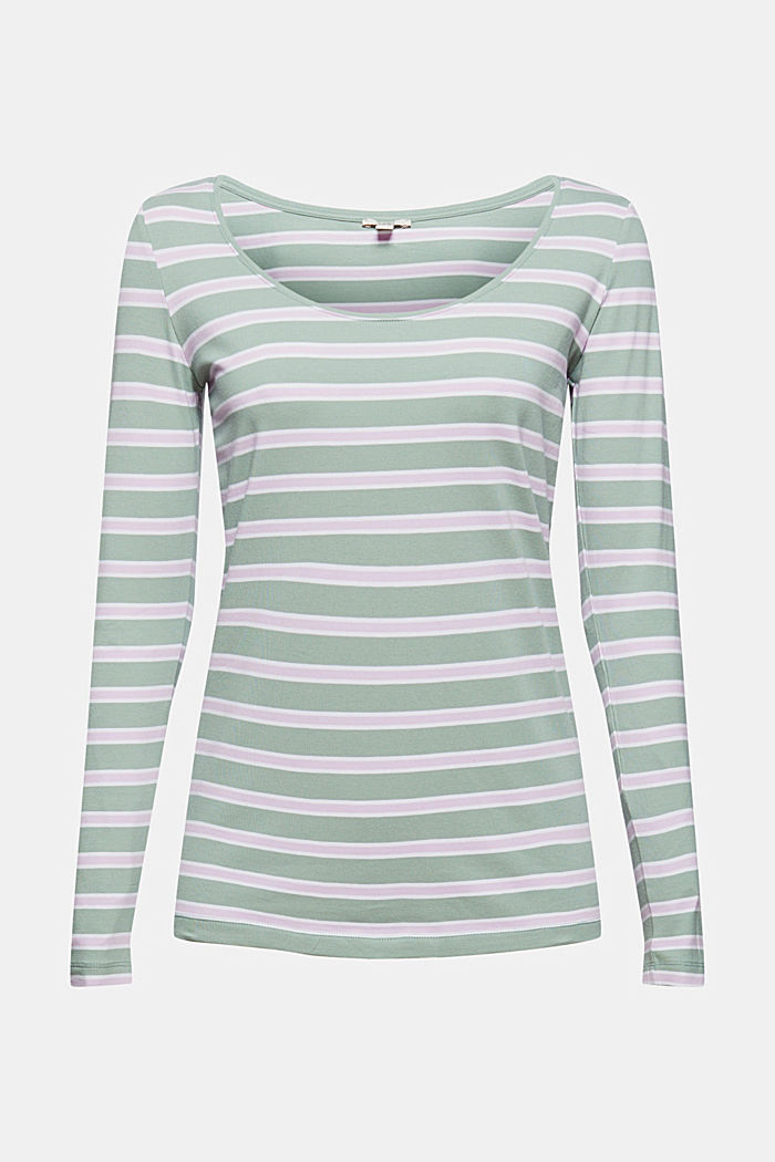 T-shirt rayé à manches longues, coton biologique