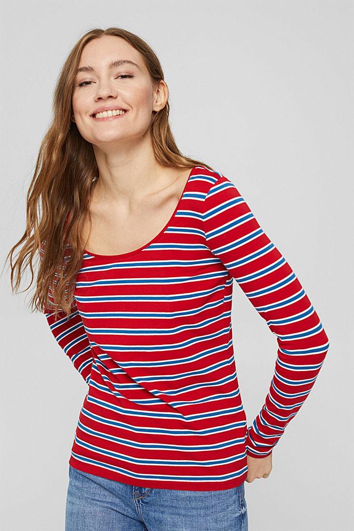 Longsleeve mit Streifen, Organic Cotton, RED, detail image number 0