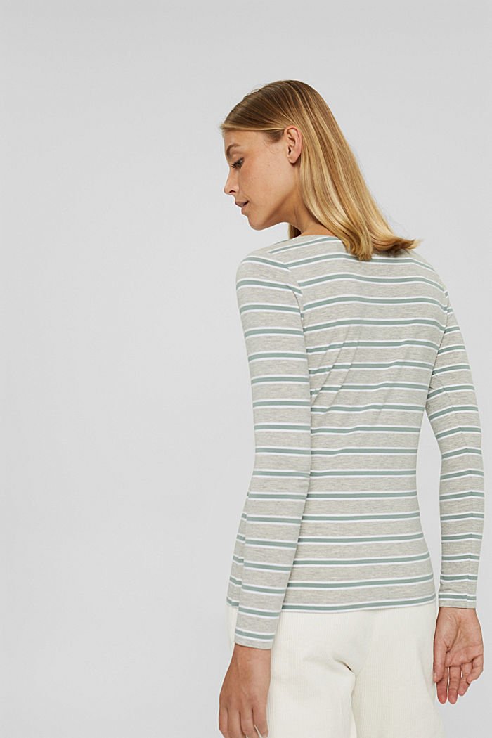 Camiseta de manga larga de rayas en algodón ecológico/elástico, LIGHT GREY, detail image number 3