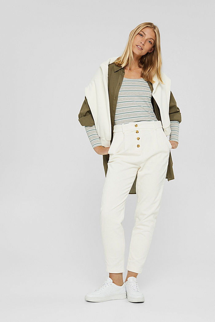 Striped long sleeve top made of organic cotton with stretch