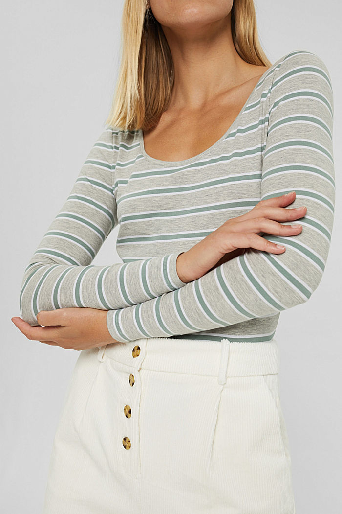 Camiseta de manga larga de rayas en algodón ecológico/elástico, LIGHT GREY, detail image number 2