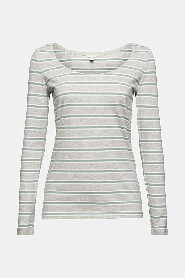 T-shirt rayé à manches longues en coton biologique stretch