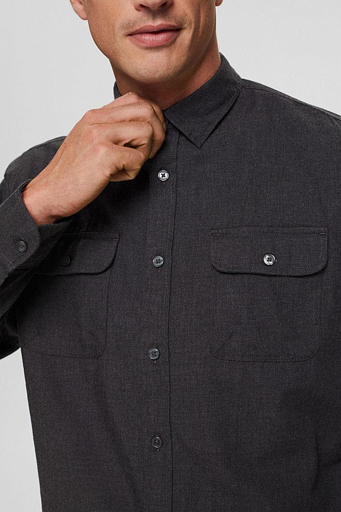 Gemêleerd overhemd van 100% biologisch katoen, DARK GREY, detail image number 2