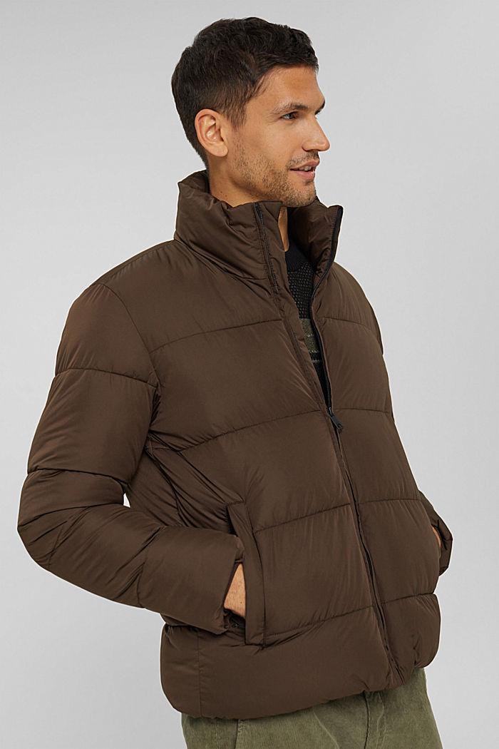 Gerecycled: weerbestendige gewatteerde jas, BROWN, detail image number 0