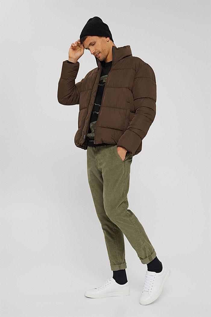 Gerecycled: weerbestendige gewatteerde jas, BROWN, detail image number 1