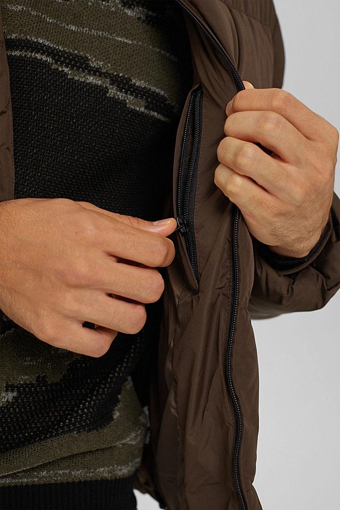 Gerecycled: weerbestendige gewatteerde jas, BROWN, detail image number 2