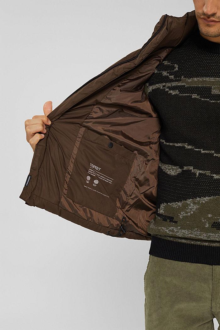 Gerecycled: weerbestendige gewatteerde jas, BROWN, detail image number 7