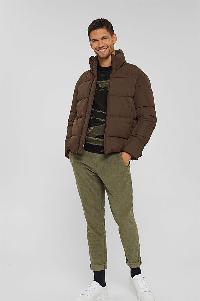 Gerecycled: weerbestendige gewatteerde jas, BROWN, detail image number 6