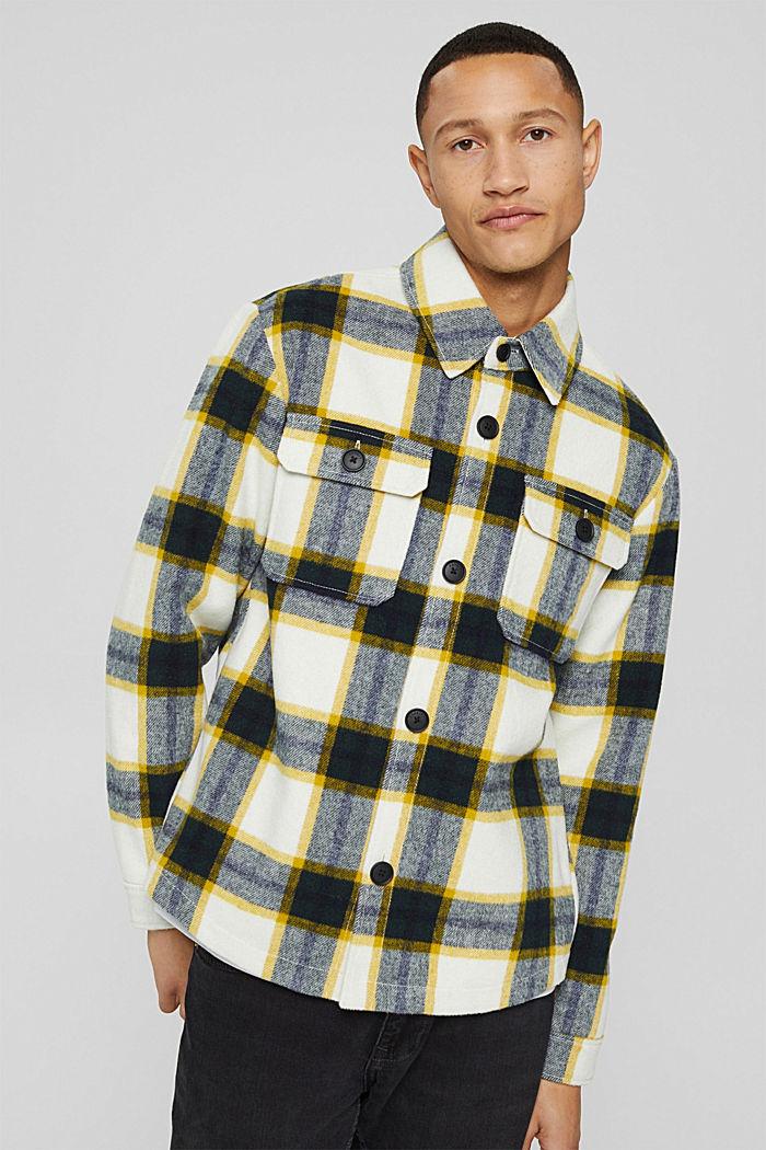Mit Wolle: Overshirt mit Karomuster, OFF WHITE, detail image number 0