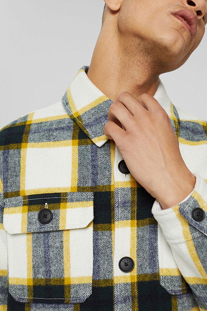 Mit Wolle: Overshirt mit Karomuster, OFF WHITE, detail image number 2
