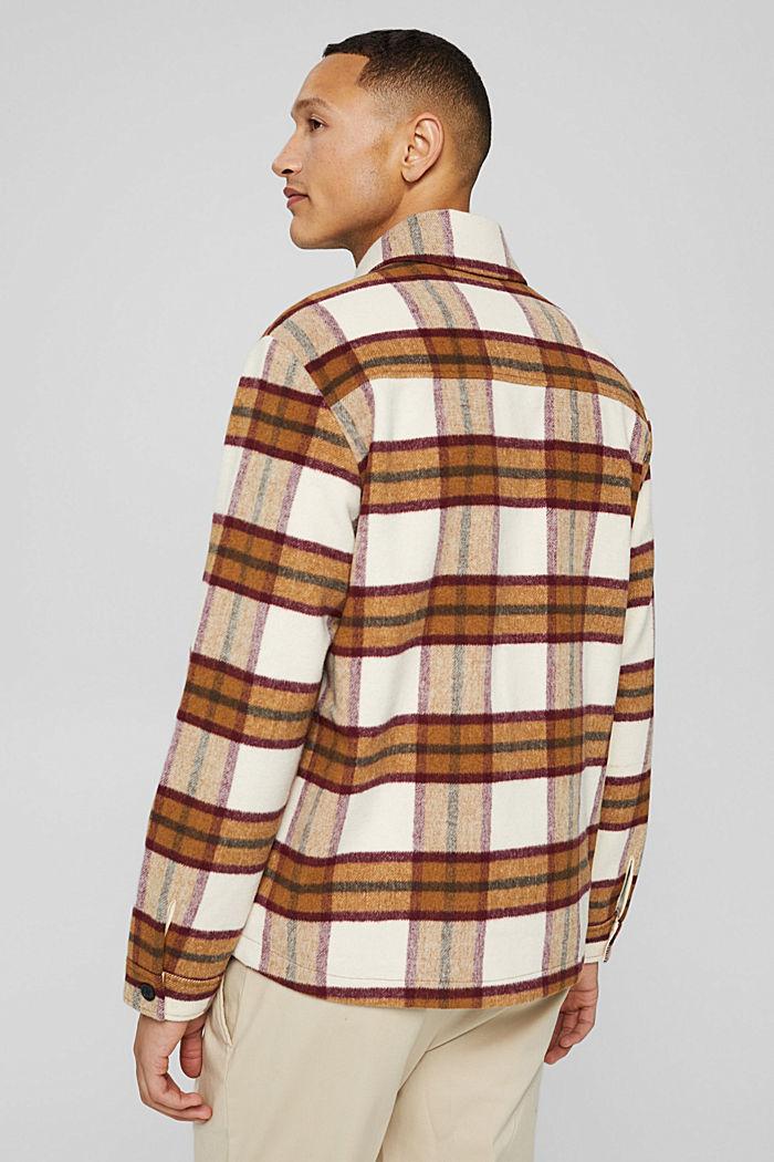 Met wol: overshirt met ruitmotief, CAMEL, detail image number 3