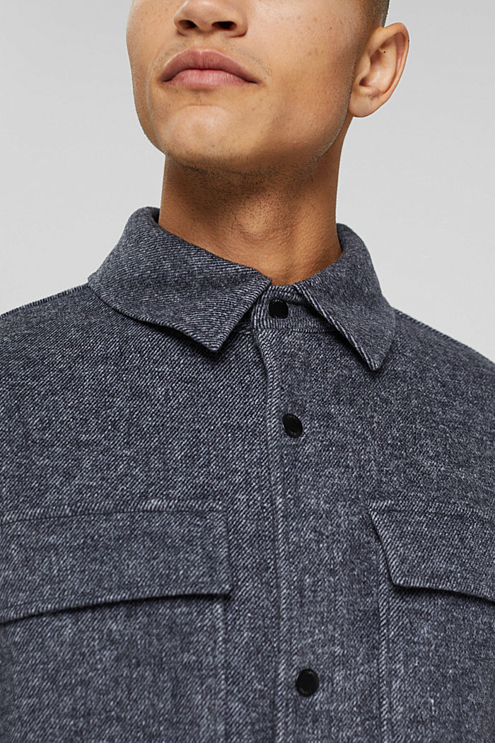 Aus Woll-Mix: meliertes Overshirt, ANTHRACITE, detail image number 2