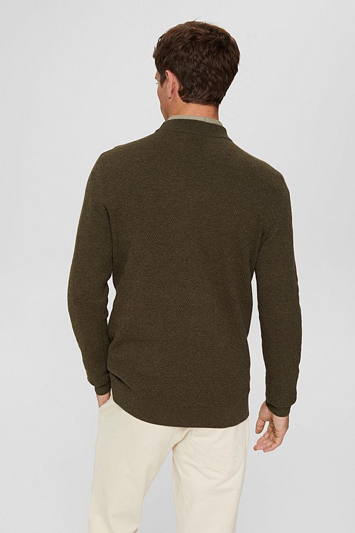 Pullover mit Struktur, 100% Organic Cotton, NEW DARK KHAKI, detail image number 3