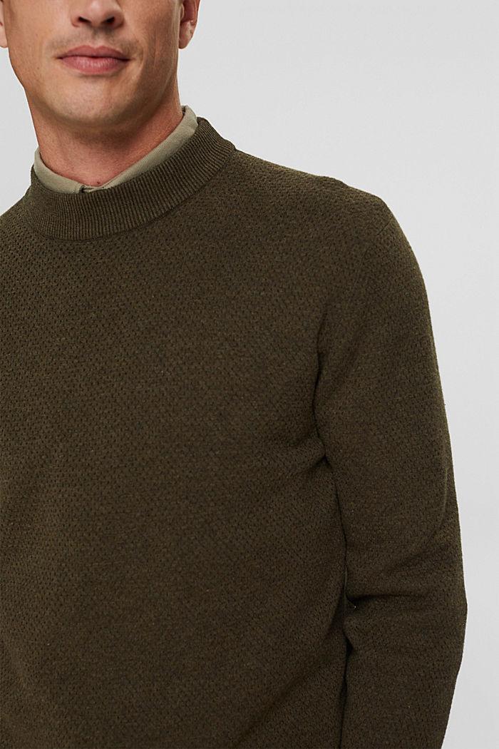 Pullover mit Struktur, 100% Organic Cotton, NEW DARK KHAKI, detail image number 2