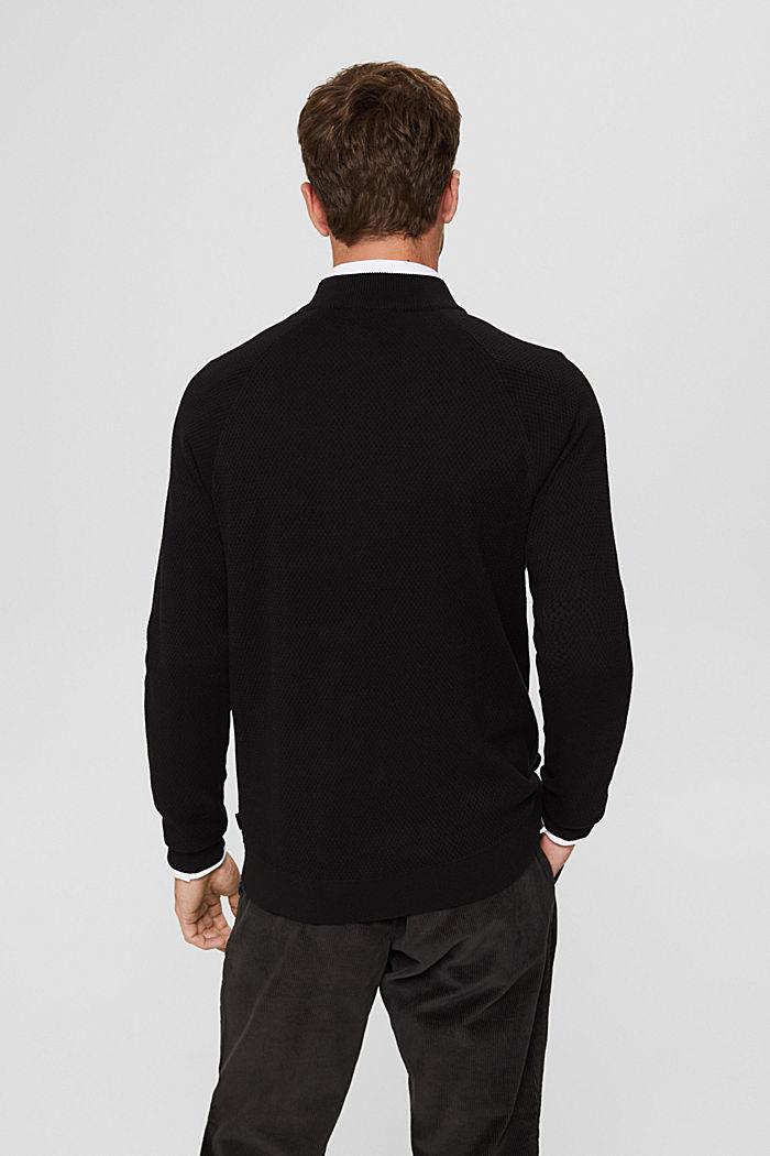 Zipper-Cardigan aus Organic Cotton, BLACK, detail image number 3