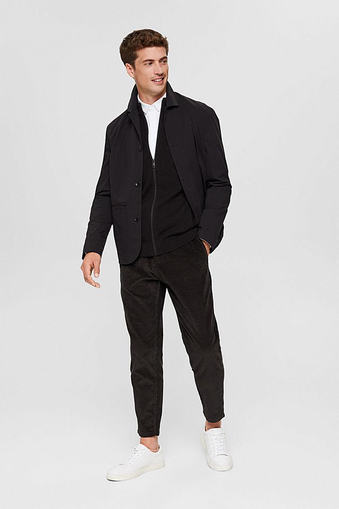 Zipper-Cardigan aus Organic Cotton, BLACK, detail image number 1