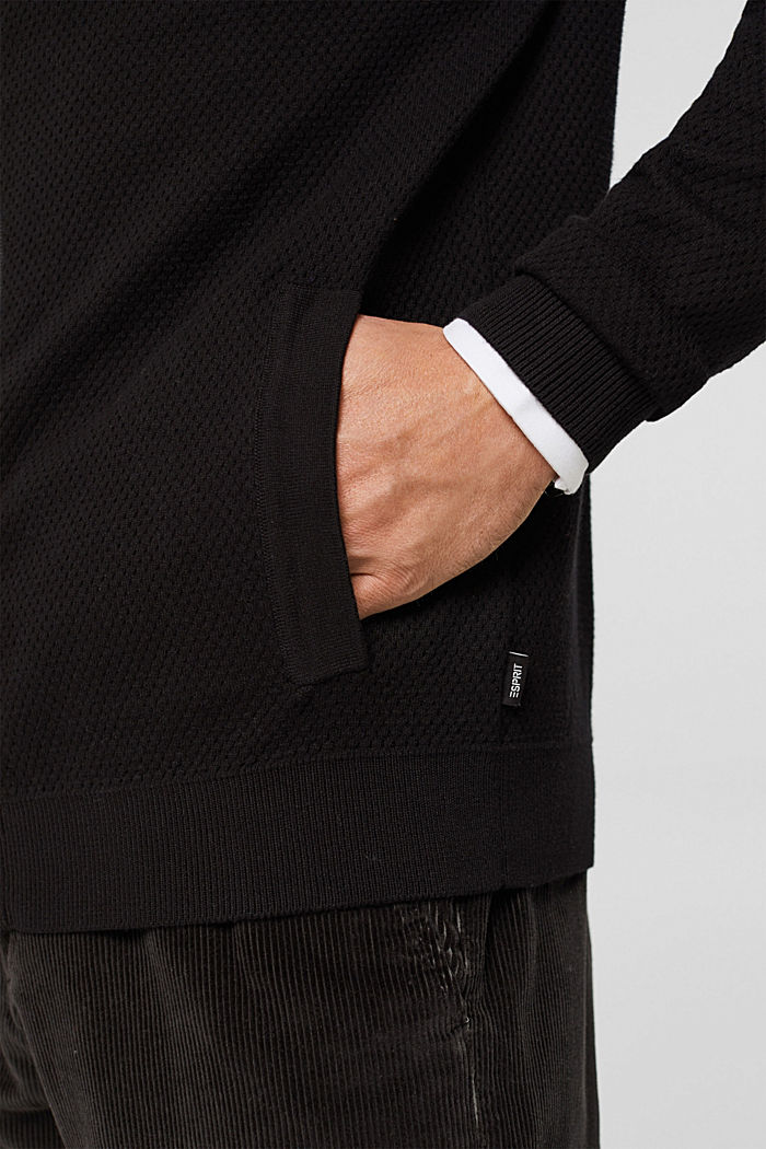 Zipper-Cardigan aus Organic Cotton, BLACK, detail image number 2