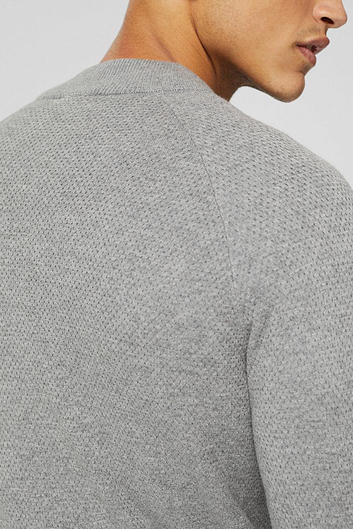 Cardigan zippé en coton biologique, MEDIUM GREY, detail image number 2