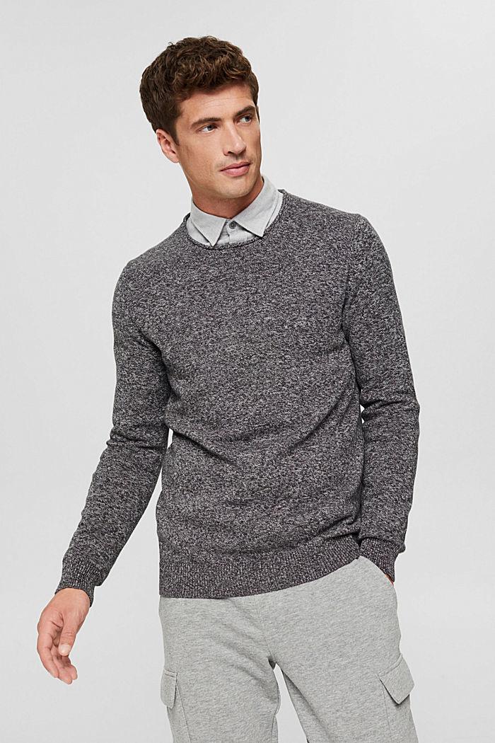 Melierter Pullover aus Organic Cotton, BLACK, detail image number 0