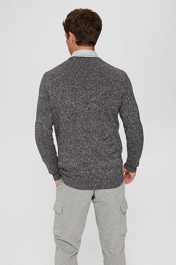 Melierter Pullover aus Organic Cotton, BLACK, detail image number 3