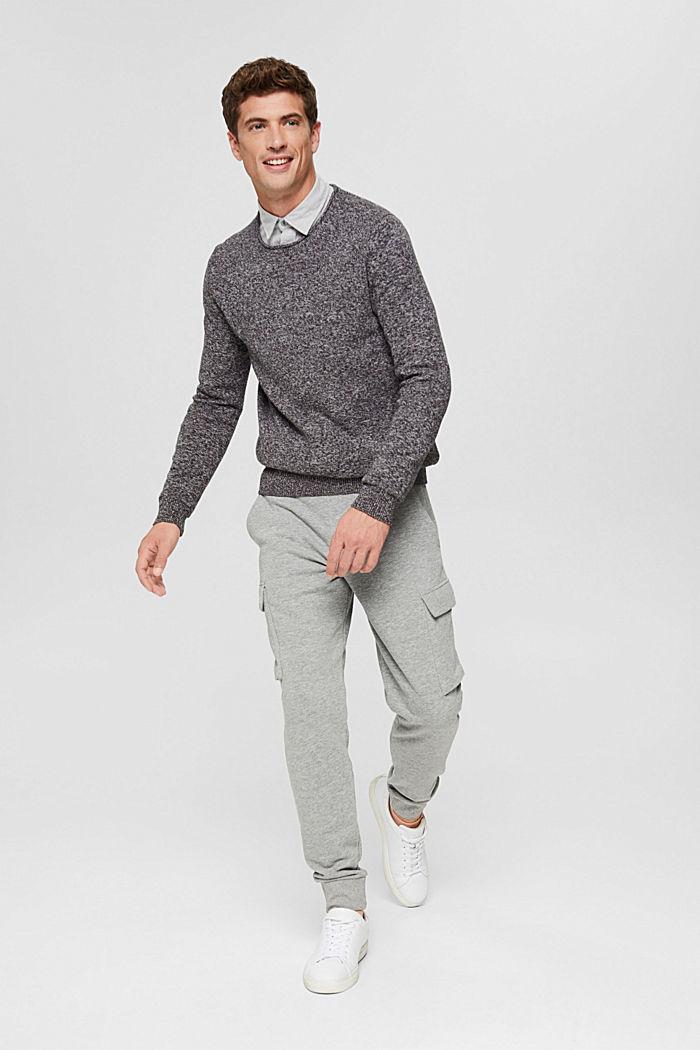 Melierter Pullover aus Organic Cotton, BLACK, detail image number 5