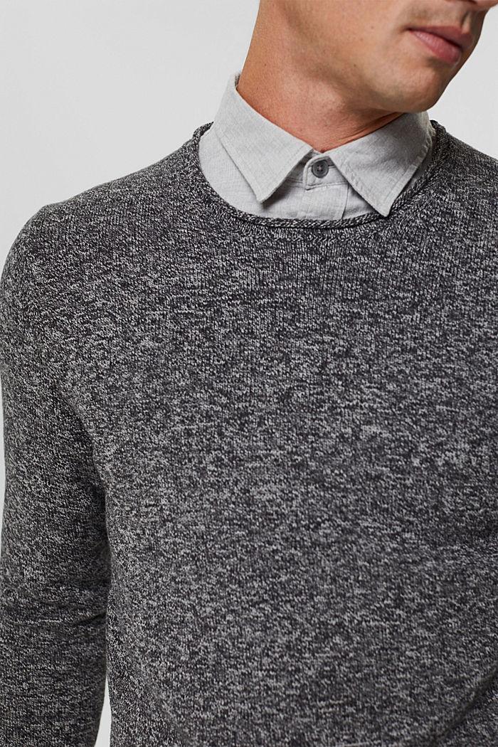Melierter Pullover aus Organic Cotton, BLACK, detail image number 2