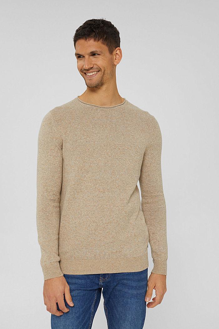 Melierter Pullover aus Organic Cotton, BEIGE, detail image number 0