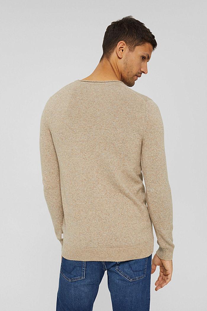 Melierter Pullover aus Organic Cotton, BEIGE, detail image number 3