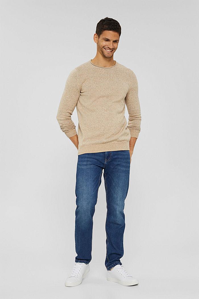 Melierter Pullover aus Organic Cotton, BEIGE, detail image number 6