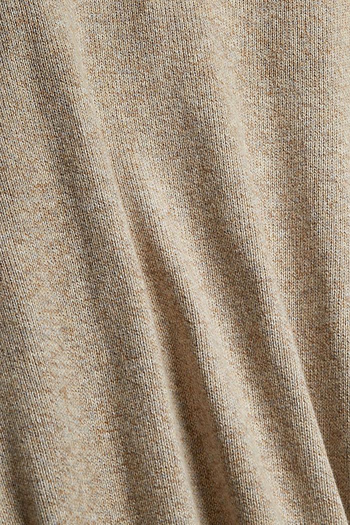 Melierter Pullover aus Organic Cotton, BEIGE, detail image number 4