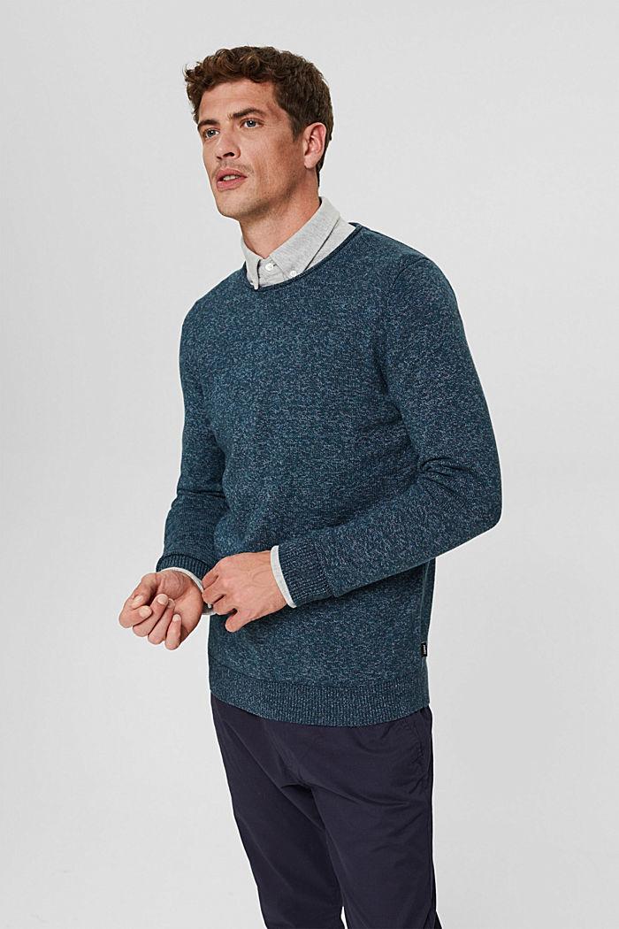 Melierter Pullover aus Organic Cotton, NAVY, detail image number 0