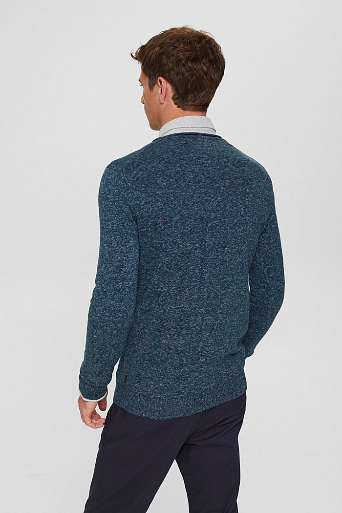 Melierter Pullover aus Organic Cotton, NAVY, detail image number 2