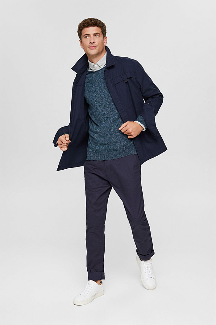 Melierter Pullover aus Organic Cotton, NAVY, detail image number 1