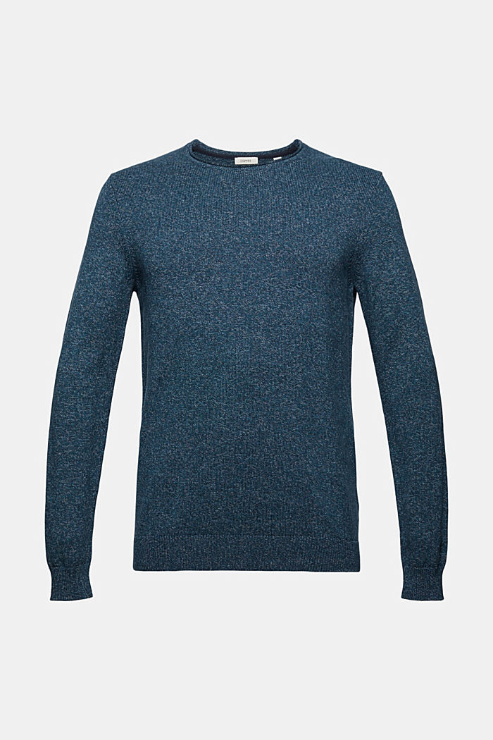 Melierter Pullover aus Organic Cotton, NAVY, detail image number 4