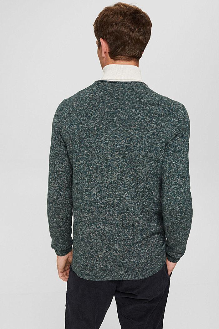 Melierter Pullover aus Organic Cotton, TEAL BLUE, detail image number 3