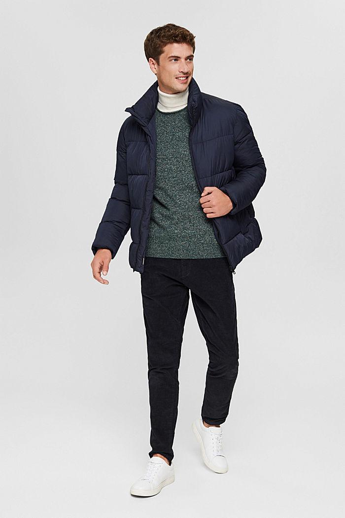 Melierter Pullover aus Organic Cotton, TEAL BLUE, detail image number 1