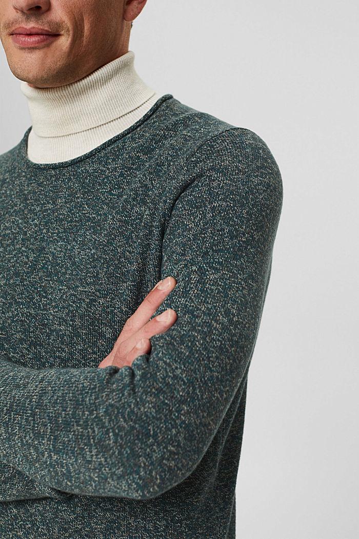 Melierter Pullover aus Organic Cotton, TEAL BLUE, detail image number 2