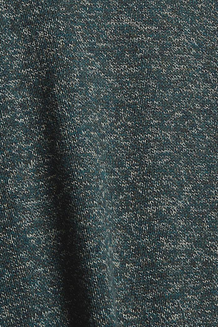 Melierter Pullover aus Organic Cotton, TEAL BLUE, detail image number 4
