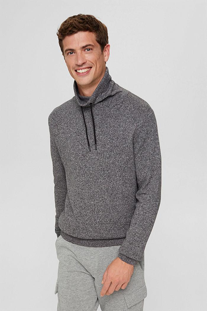 Pullover mit Tunnelkragen aus Bio-Baumwolle, GREY, detail image number 0