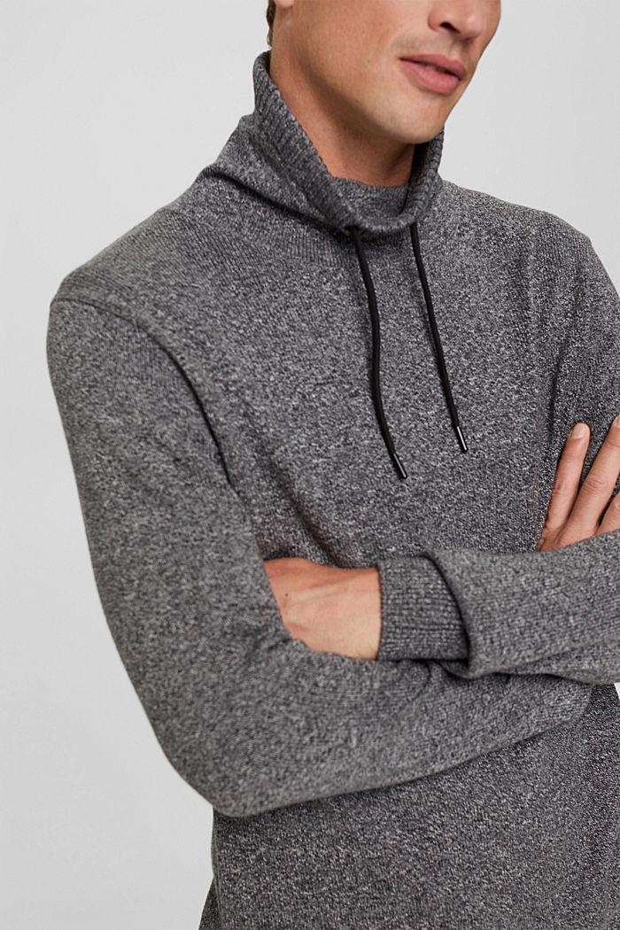 Pullover mit Tunnelkragen aus Bio-Baumwolle, GREY, detail image number 2