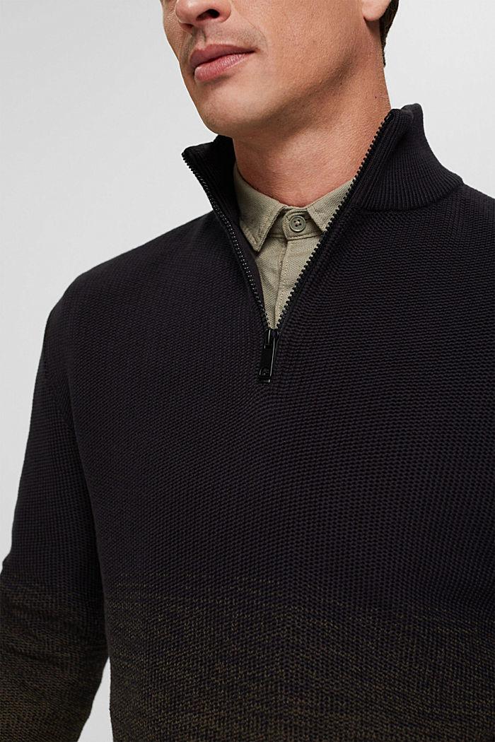 Schipperstrui met kleurverloop van organic cotton, BLACK, detail image number 2