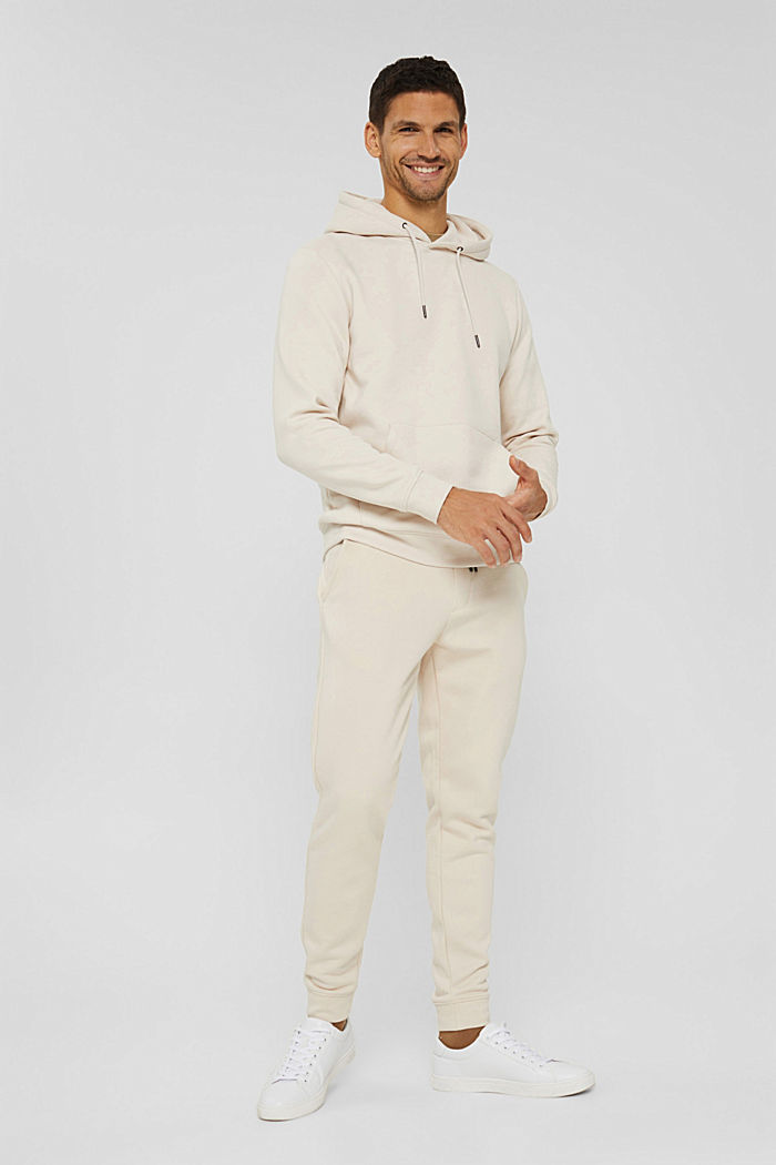 En matière recyclée: le sweat-shirt à capuche orné d'une broderie, CREAM BEIGE, detail image number 9
