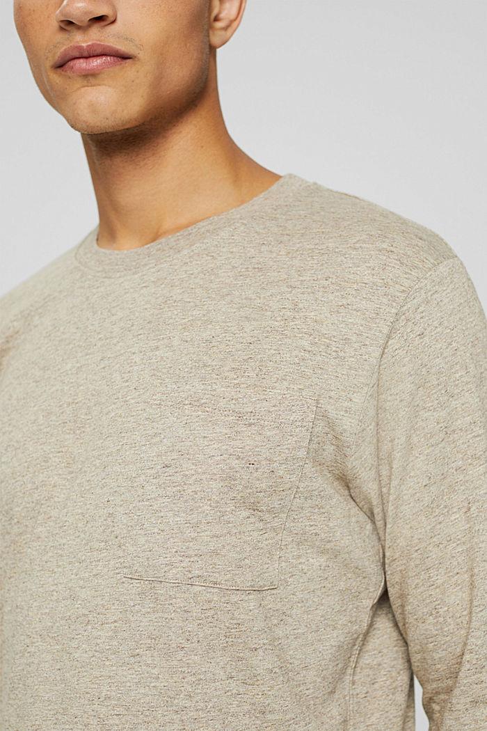 T-shirt en jersey à manches longues, en 100 % coton, BEIGE, detail image number 1