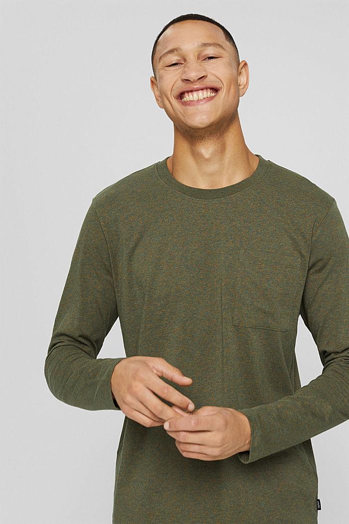 T-shirt en jersey à manches longues, en 100 % coton, DARK KHAKI, detail image number 0