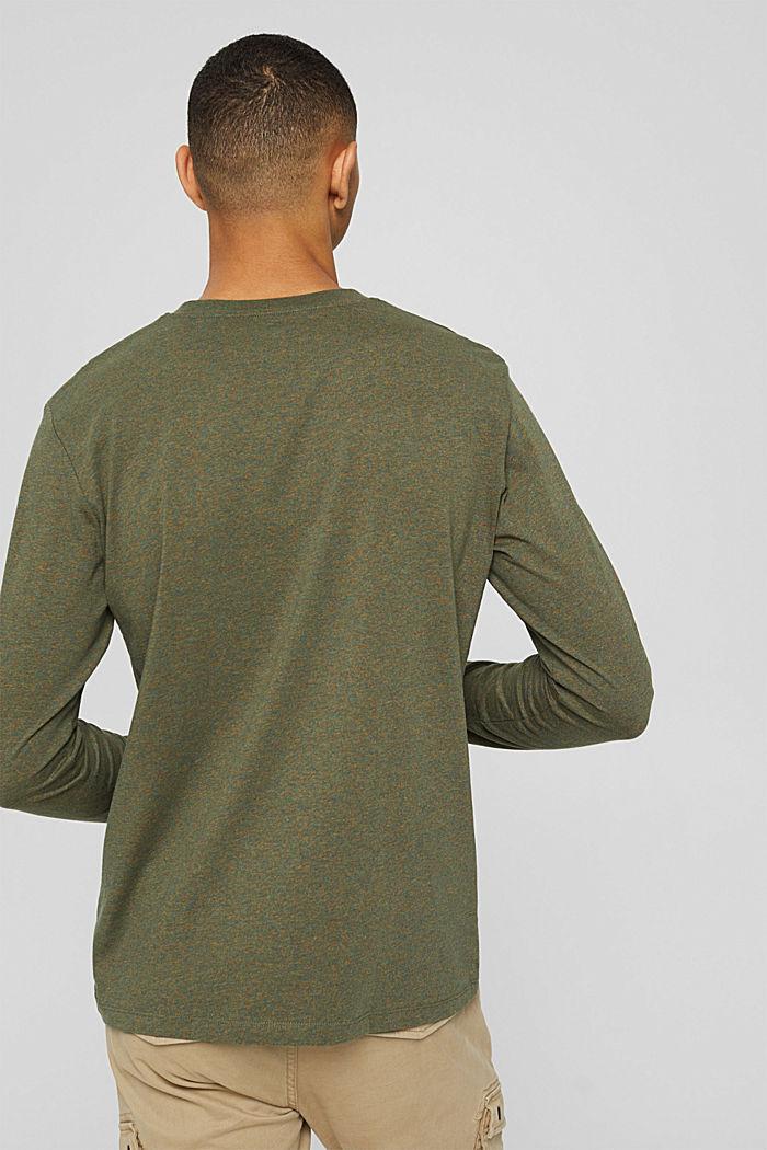 T-shirt en jersey à manches longues, en 100 % coton, DARK KHAKI, detail image number 3